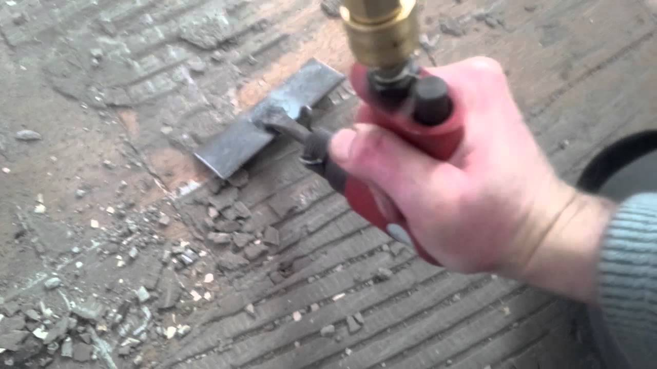 Modified Air Chisel Makes Short Work Of Floor Cement Removal YouTube - Air chisel tile removal