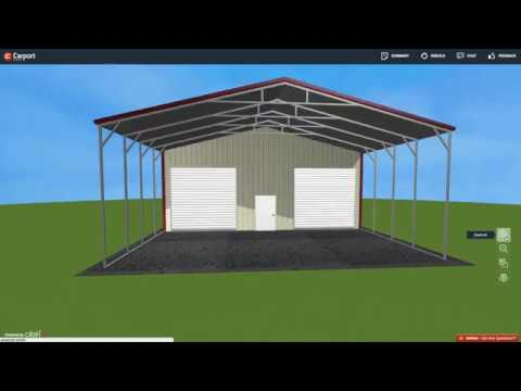 30 X 51 Metal Garage With Roof Extension Carport Central