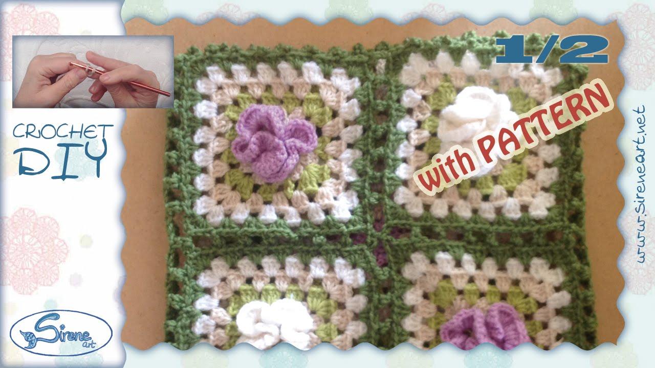 Tutorial uncinetto 1 2 ❀ mattonella fiore 3d ondulato ❀ [crochet