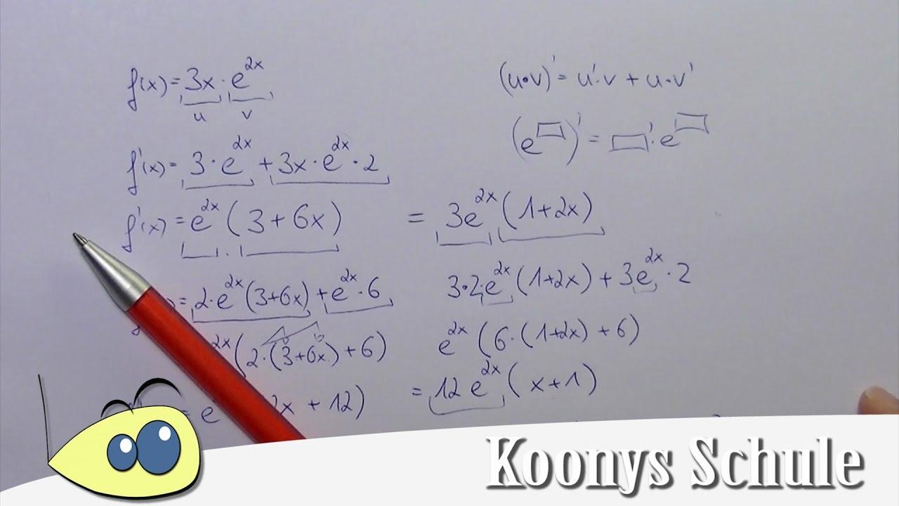 1., 2. und 3. Ableitung von e-Funktion, 3x·e^(2x), Produktregel ...