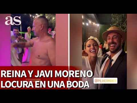 Reina y un semidesnudo Javi Moreno se lo pasan en grande en una boda