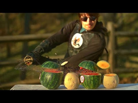 Katana Cutting Fruit in Slow Motion