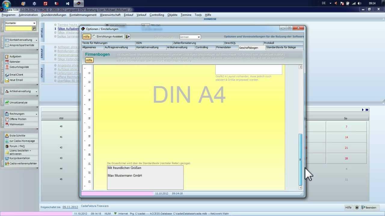 Cadia Faktura Version 5080 Freeware Rechnungssoftware Test Youtube
