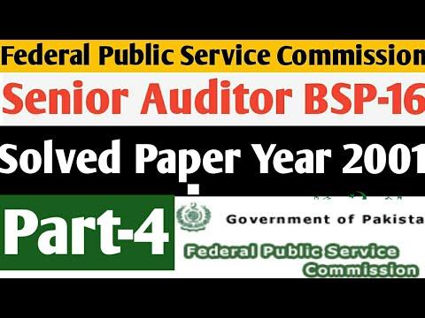FPSC Senior Auditor BSP-16 Solved Paper Year 2001 MCQs FPSC Senior Auditor Preparation MCQs Part-4