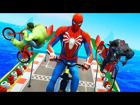 Triple Superheroes Bicycle Race - Spider Man & Hulk & Captain America Obstacle Course Challenge Ep 1 thumbnail