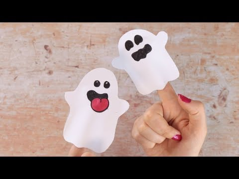Easy Halloween Paper Crafts for Kids - Ghost Finger Puppets