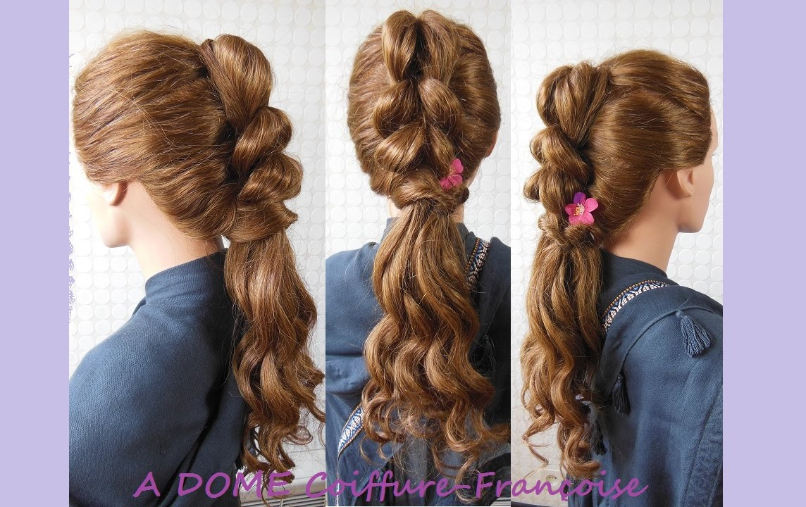 coiffure boucl e queue de cheval curly hairstyle ponytail peinado rizos bucles coleta. Black Bedroom Furniture Sets. Home Design Ideas