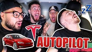 TESLA MODEL 3 AUTOPILOT CHALLENGE W/ TEAM ALBOE!! (I FELL ASLEEP AT THE WHEEL)