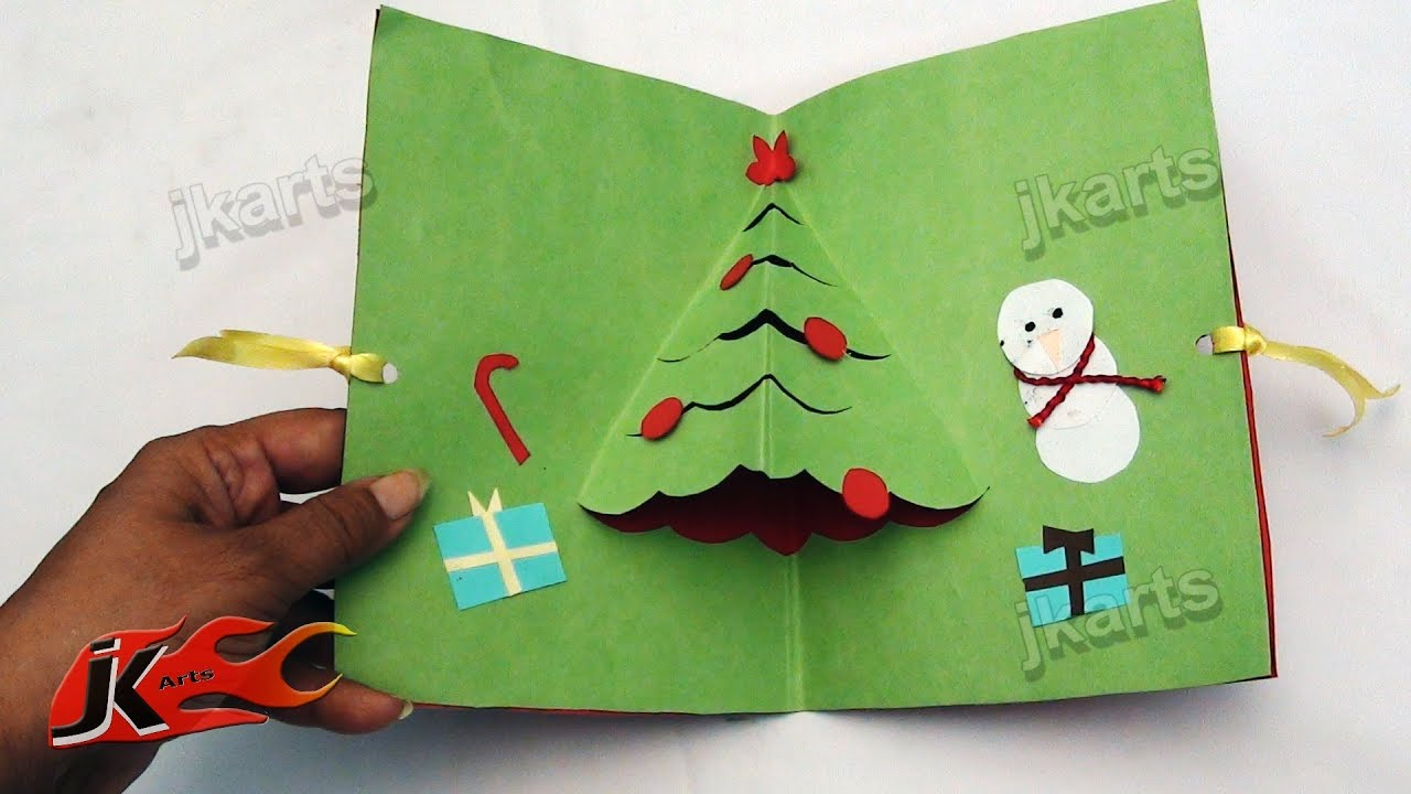 Making christmas decorations in school - How To Make Christmas Pop Up Card School Project For Kids Jk Arts 106 Youtube