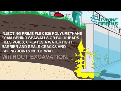 Seawall repair: sealing cracks in seawalls and bulkheads and filling the voids behind them