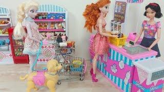 Boodschappen Doen! Koningin Elsa en Anna in de Supermarkt