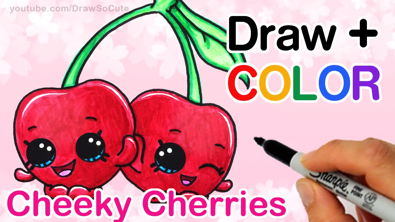 How to Draw + Color Shopkins Cheeky Cherries step by step Cute ...