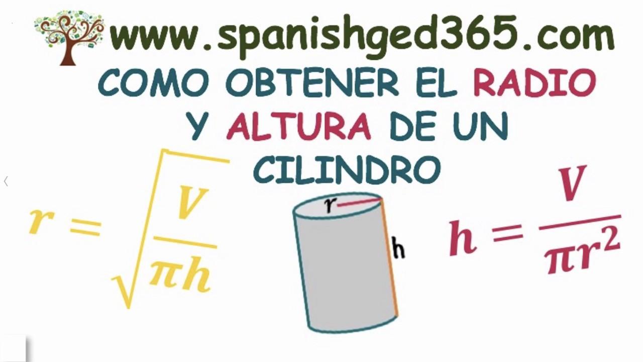 Ejercicios Para Obtener Radio Y Altura Del Cilindro Spanish Ged 365