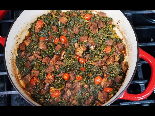Curry Stew Pork With Kale | CaribbeanPot.com