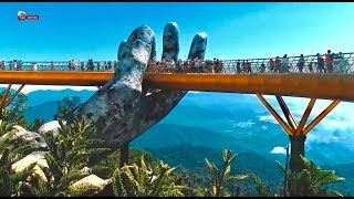 1 Of The best places to visit in Vietnam (part 17) Golden bridge in Ba Na Hills, Da Nang【102Flycam】