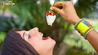 Strawberries & Whip Cream for Valentine's Day! FullyRaw & Vegan!