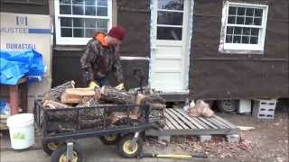 Cutting And Splitting Firewood For My Tiny House On Wheels