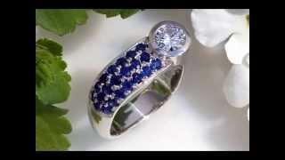 Diamond & Pave Sapphire Ring in 18 Karat White Gold