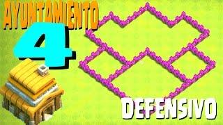!!QUE ALDEA!! DISEÑO DE AYUNTAMIENTO 4  TH4 SUBIDA DE COPAS [DEFENSIVA] - Clash Of Clans En Español