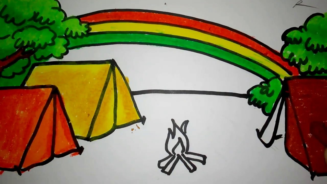 Cara Menggambar Pelangi Di Perkemahan Untuk Anak TK Dan SD