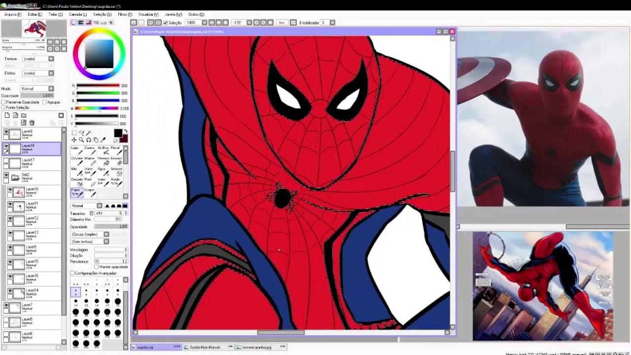 Uncategorized Paint Spiderman speed painting on paint tool sai of spider man civil war youtube