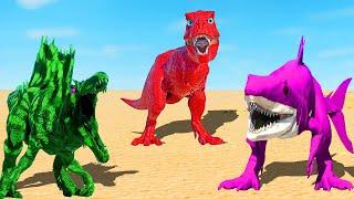 Red T-Rex vs Pink King Shark vs Blue Malusaurus vs Ice Spinosaurus 🌍 Jurassic World Evolution