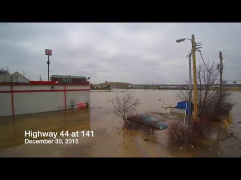 Highway 44 at 141 Record Flooding and Road Closure - Missouri - (Drone Footage)