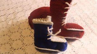 Детские пинетки -  сапожки для Деда Мороза(на 4 - 5 летнего ребенка)Урок 1