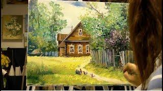 """Картина маслом поэтапно """"Деревенский пейзаж"""".Rural landscape.Picture"""