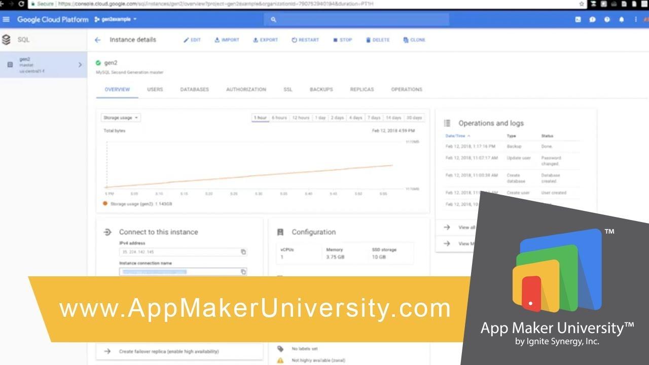 Setting up Shared SQL Instance in Google App Maker