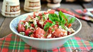 Салат 'Болгария' из помидоров с брынзой