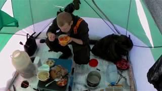 Рыбалка зимой в -29 с комфортом! Ловим рыбу в палатке!
