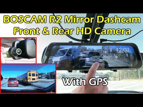 BOSCAM R2 Front & Rear Camera Rearview Mirror Dashcam REVIEW