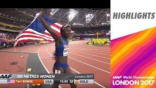 WCH London 2017 Highlights - 100m - Women - Final - Tori Bowie wins