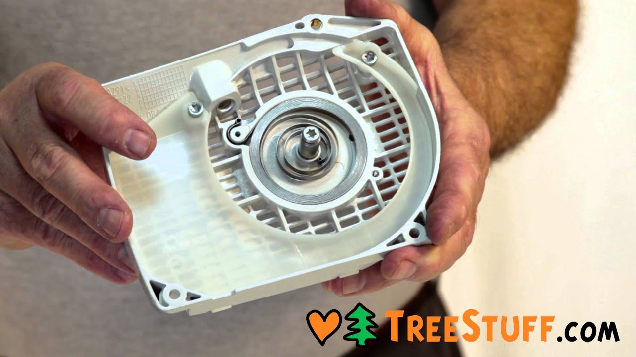 How To Assemble A Recoil Starter System - TreeStuff com Chainsaw  Maintenance Video