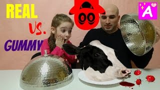 gummy food vs real food video Обычная Еда против Мармелада kids react with gummy challenge