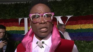 """Actor billy porter dons a design by celestino couture to the tony awards, where he criticized what sees as """"an administration that is actively trying p..."""