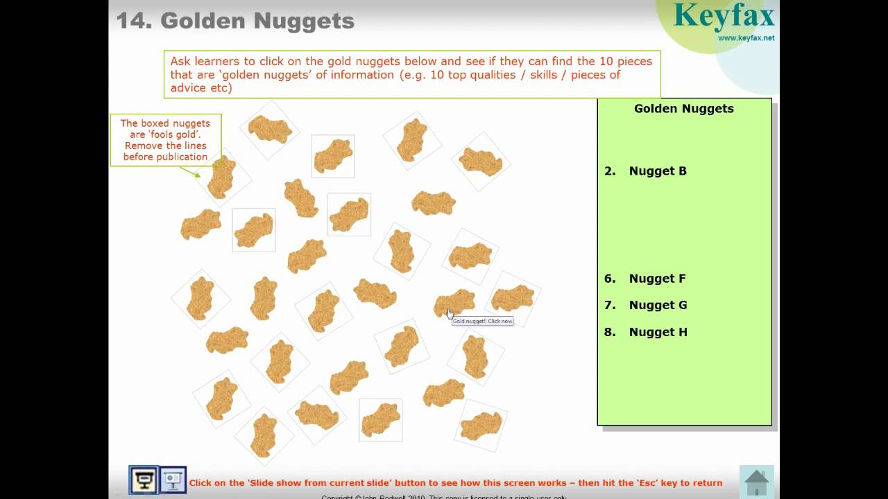 Interactive Powerpoint - Template For Educational Quizzes And E-Learning -  'golden Nuggets'