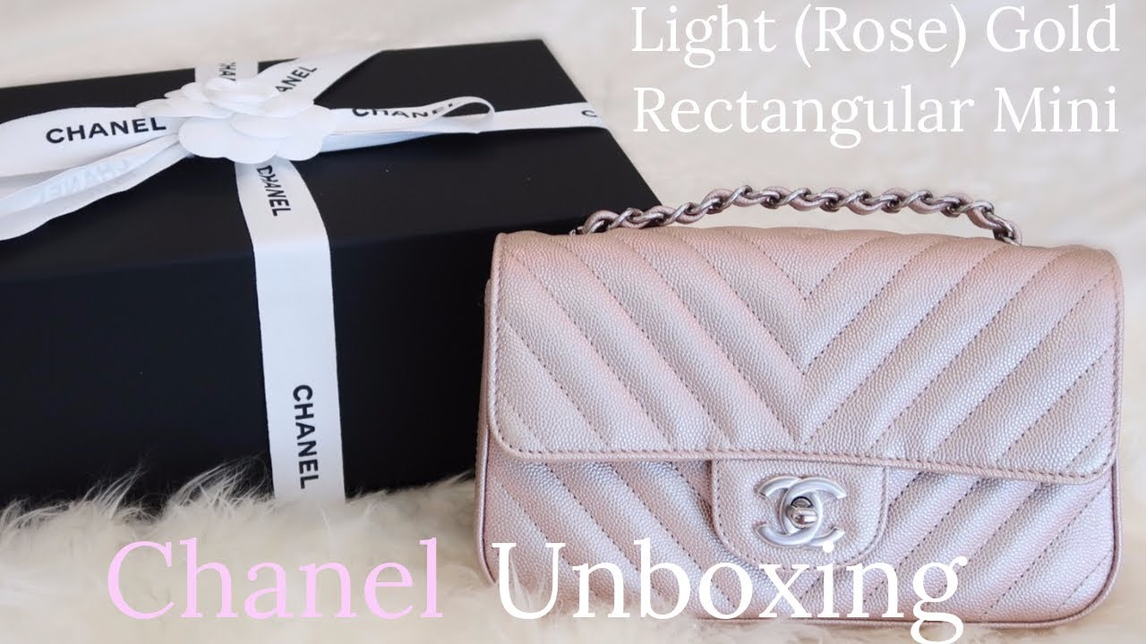 ad9c3af19f3 Chanel Unboxing   Light Rose Gold Rectangular Mini   LalaLovesLV ...