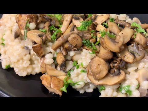 Seared Portobello Mushroom and Squash Barley Risotto