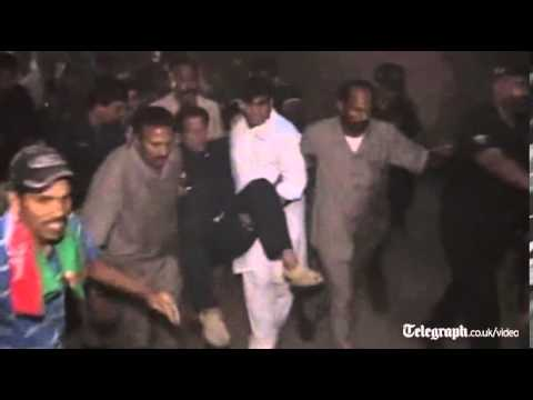 Imran Khan falls off stage at Pakistan election rally
