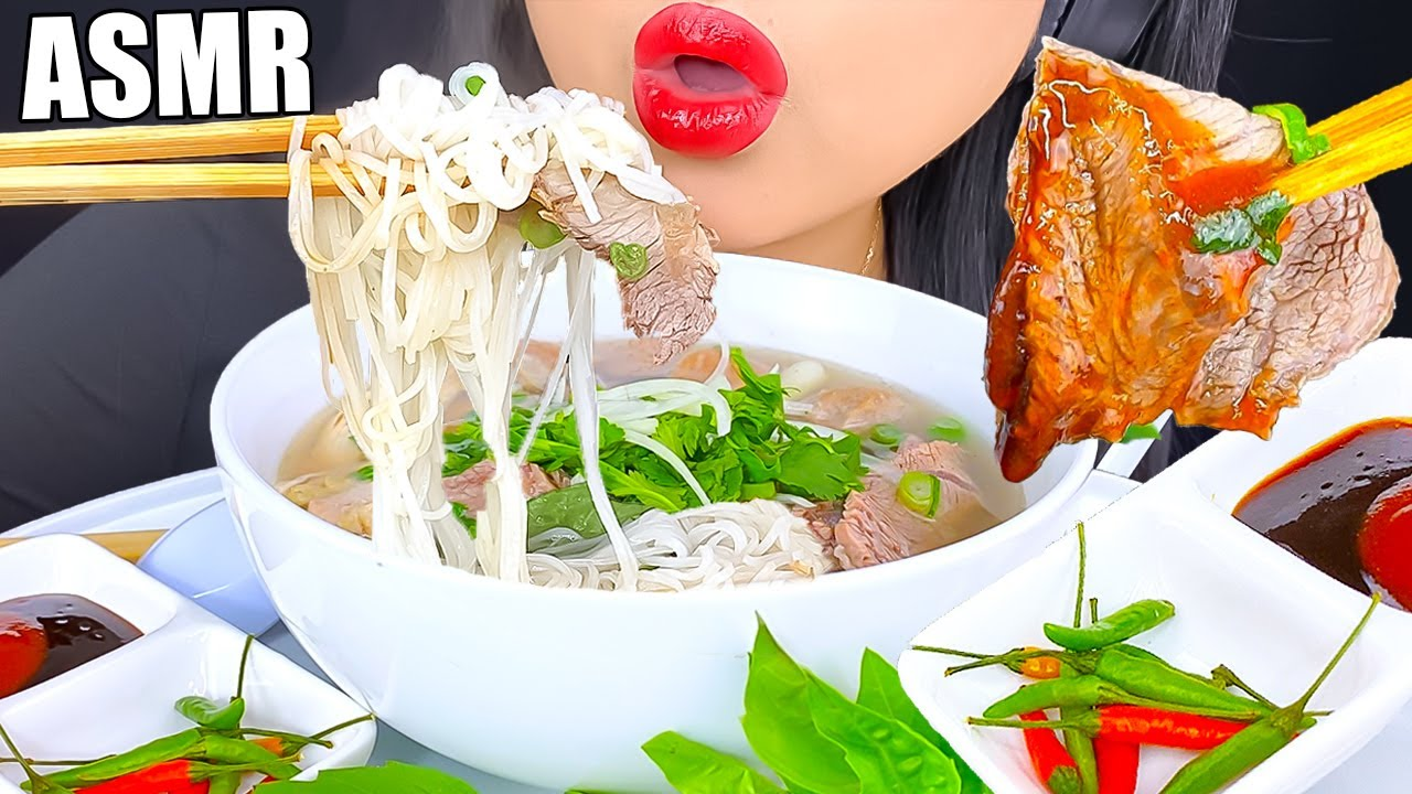 ASMR BEST HANGOVER FOOD is BEEF & CHICKEN Pho | EATING SHOW | ASMR Phan
