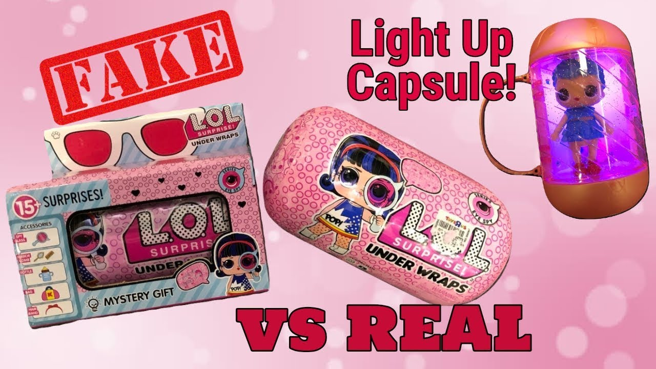 c57f397697 FAKE vs REAL LOL SURPRISE UNDER WRAPS LIGHT UP CAPSULE - YouTube
