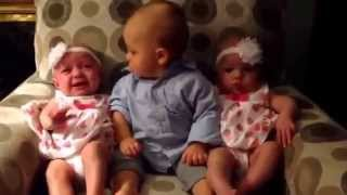 Baby's confusion on seeing twins