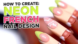 How To Create Neon Smile Lines with Line Art Accent Nail