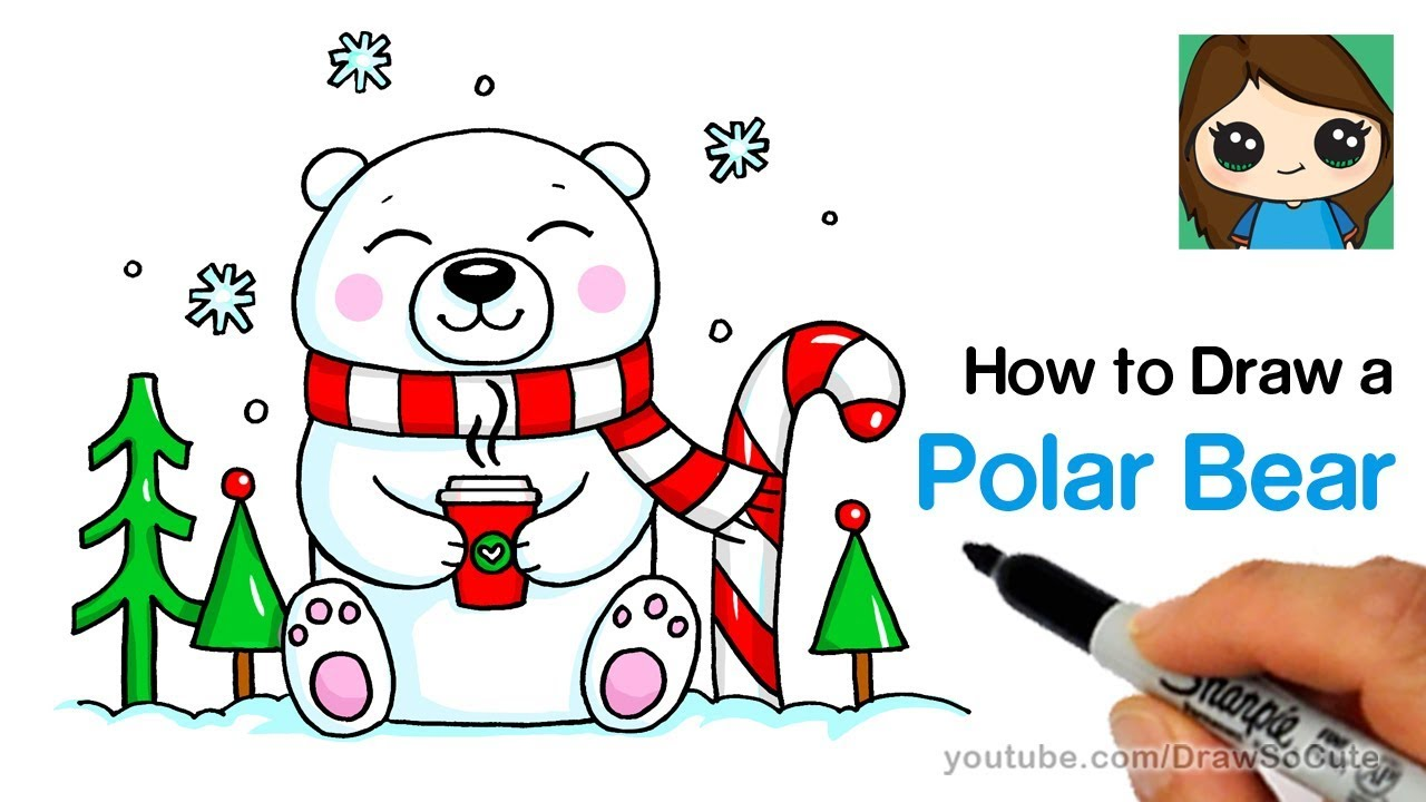 How To Draw A Polar Bear For Winter Holiday Easy