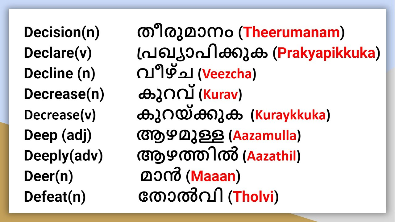 Useful Words in English. Malayalam   Part 3   General Dictionary   - YouTube