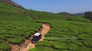 Aerial videography in india. Off roading in Munnar tea plantations in Kerala.