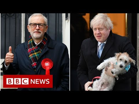 Jeremy Corbyn, Boris Johnson and Jo Swinson react to the election results - BBC News