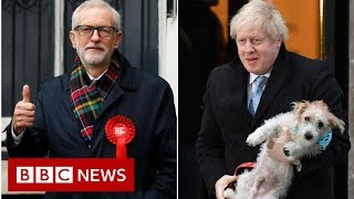 Jeremy Corbyn, Boris Johnson and Jo Swinson react to the election results - BBC News